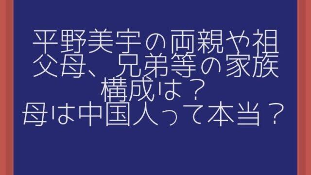 平野美宇の両親や祖父母、兄弟等の家族構成は?母は中国人って本当?