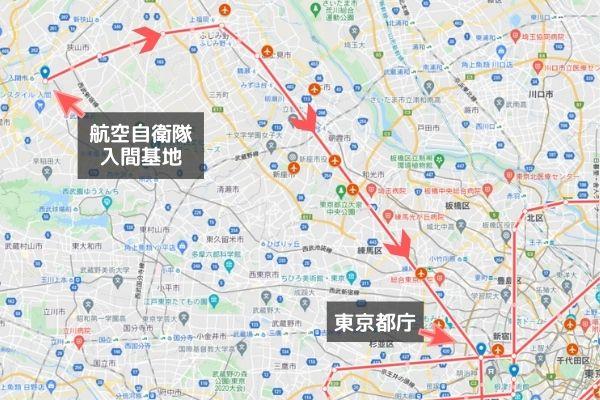 地図:オリンピック開会式ブルーインパルス飛行ルート(入間市から練馬区へ)