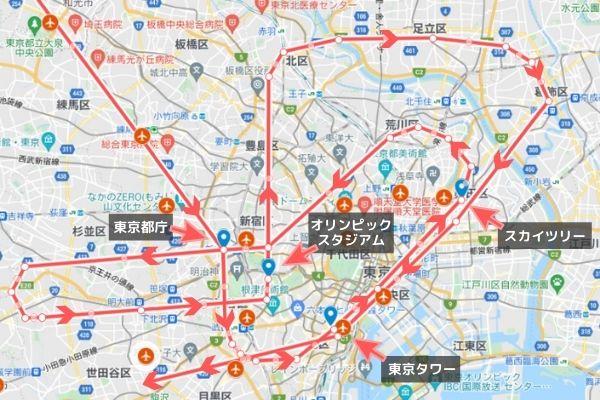 地図:オリンピック開会式ブルーインパルス飛行ルート(練馬区から都庁へ向けて南下ルート)