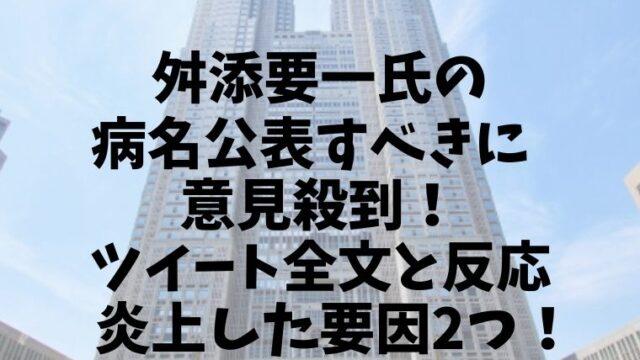 舛添要一氏の病名公表すべきに意見殺到!ツイートと反応と炎上要因2つ!