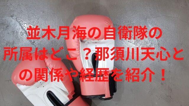 並木月海の自衛隊の所属はどこ?那須川天心との関係や経歴を紹介!