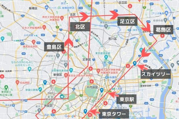 パラリンピック開会式ブルーインパルス飛行ルート見える場所/北区・足立区・葛飾・墨田区ルート