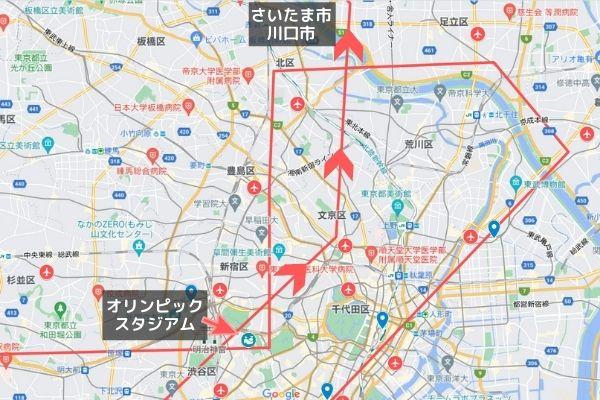パラリンピック開会式ブルーインパルス飛行ルート見える場所/新宿区・文京区を経由して川口市・さいたま市へ抜ける飛行ルート