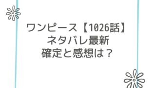 ワンピース【1026話】ネタバレ最新確定と感想は?