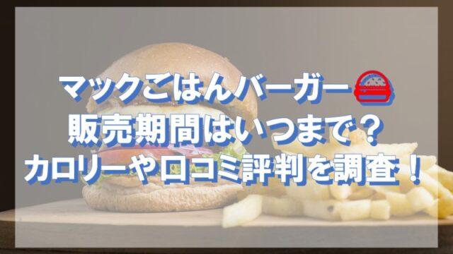 マックごはんバーガーの販売期間はいつまで?カロリーや口コミ評判を調査!