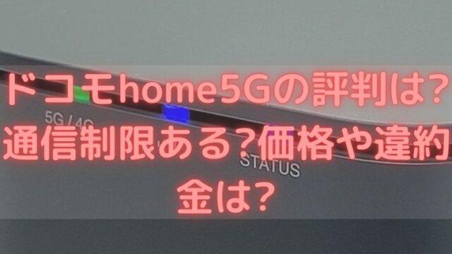 ドコモhome5Gの評判は?通信制限ある?価格や違約金は?