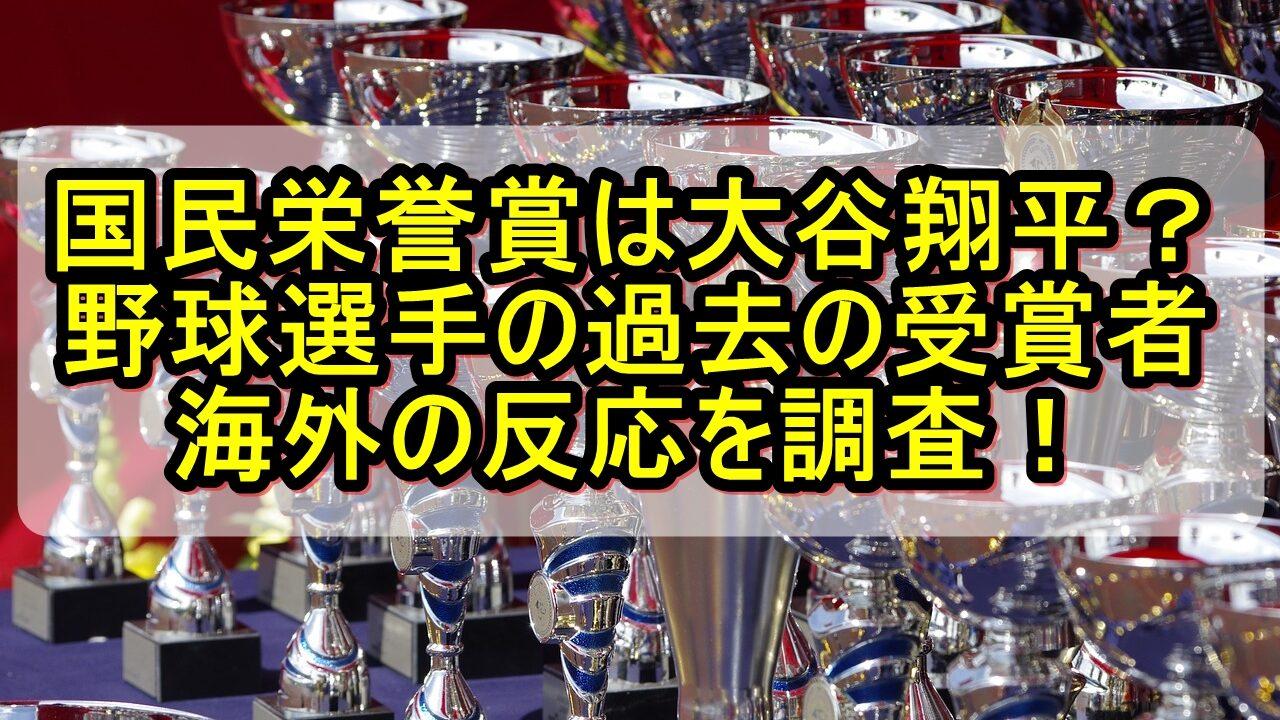 国民栄誉賞は大谷翔平?野球選手の過去の受賞者や海外の反応を調査!