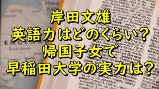 岸田文雄の英語力はどのくらい?帰国子女で早稲田大学の実力を調査!