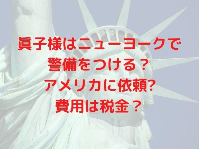 眞子様はニューヨークで警備をつける?アメリカに依頼し費用は税金?